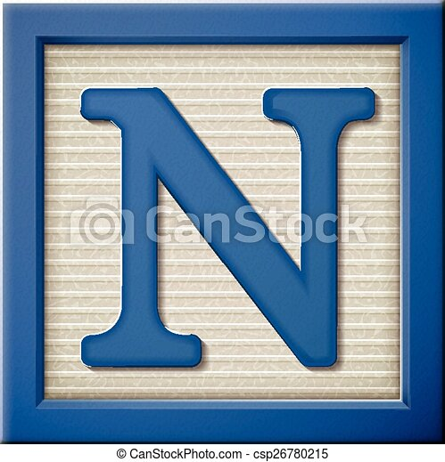block letter n up look at 3d blue letter block n vector clip 36859