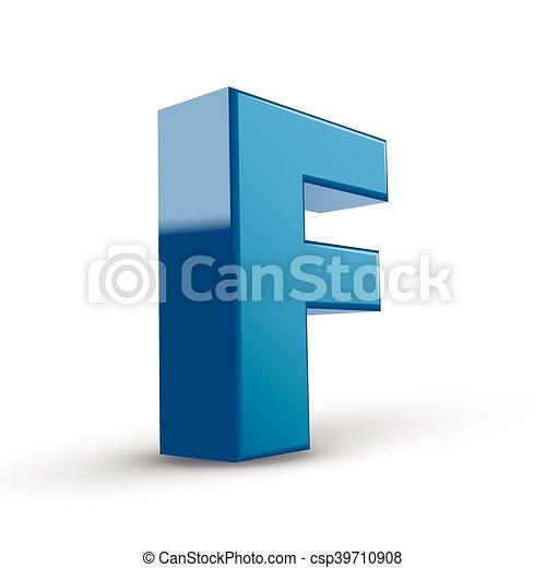 Blue letter F, 3d render Stock Photo: 165197387 - Alamy