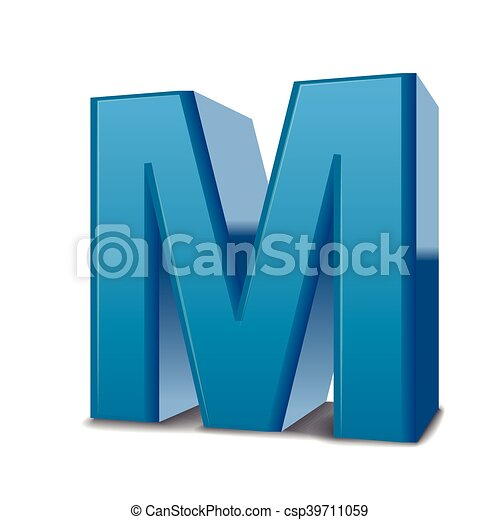 3d Blue Letter M 3d Image Blue Letter M Isolated On White Background
