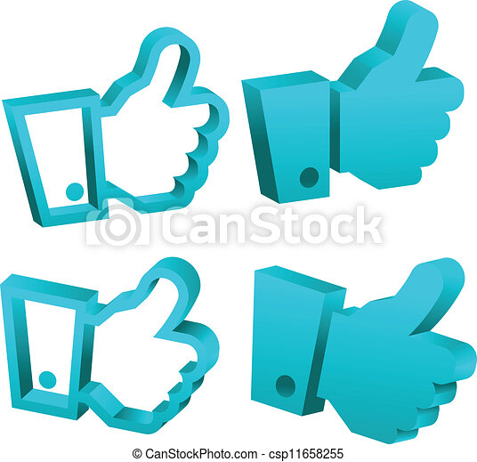 3D Blue Like It Hand Icons - csp11658255