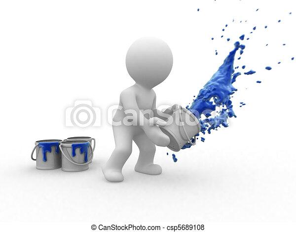 3d blue painter - csp5689108