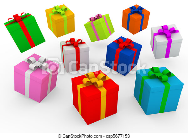 3d Blue Red Gold Pink Green Purple Gift Box Isolated On White