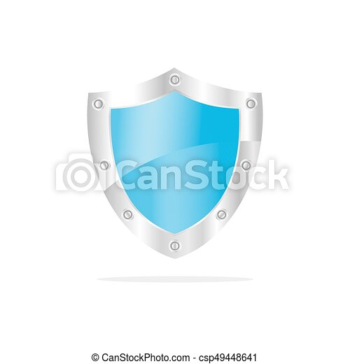3D Blue security shield on a white background - csp49448641