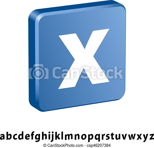 3D blue square any letter icon - csp46207384