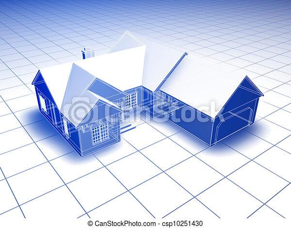 3d blueprint house blueprint style 3d rendered house blue 3d blueprint house csp10251430 malvernweather Gallery