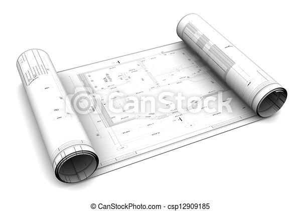 3d blueprint roll - csp12909185