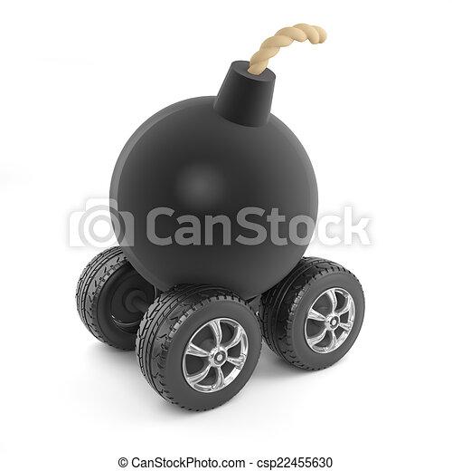 3d Bomb on wheels - csp22455630