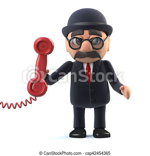 3d Bowler hatted British businessman answers the phone - csp42454365