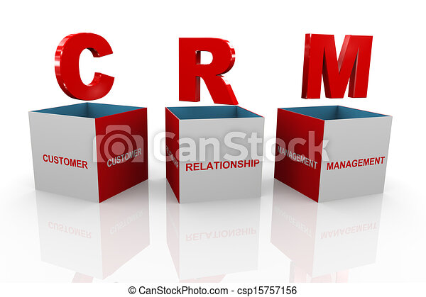 3d Box Of Crm Customer Relationship Management 3d Stock