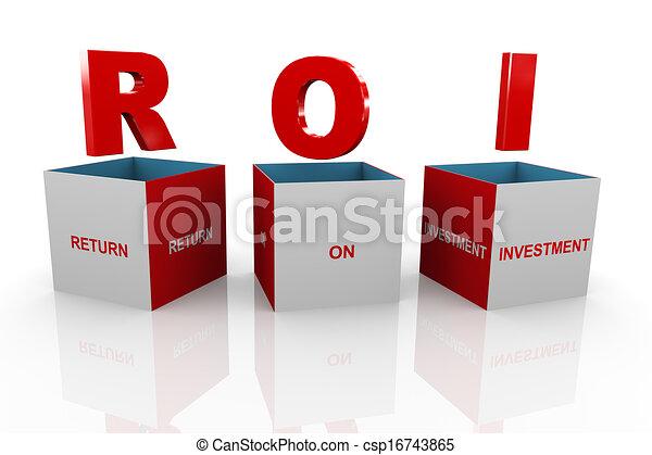 3d box of roi - return on investment - csp16743865