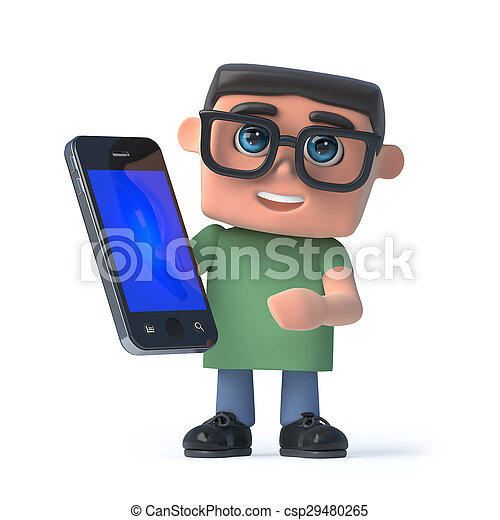 3d Boy in glasses holding a smartphone - csp29480265