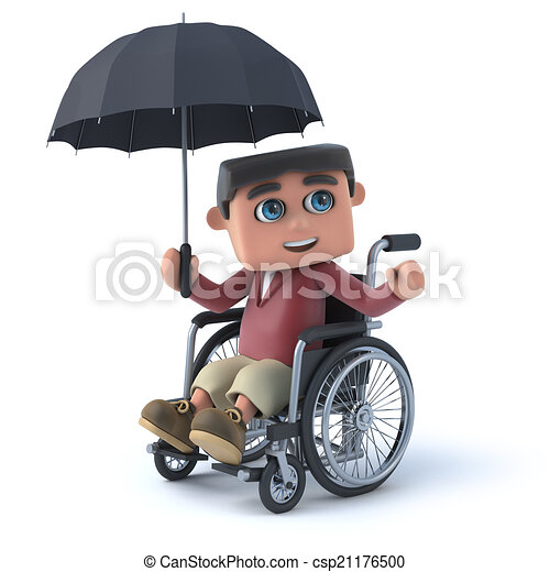 3d boy in wheelchair with umbrella 3d render of a boy in a