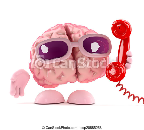 3d Brain answers the phone - csp20885258