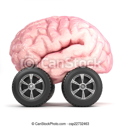 3d Brain on wheels - csp22732463