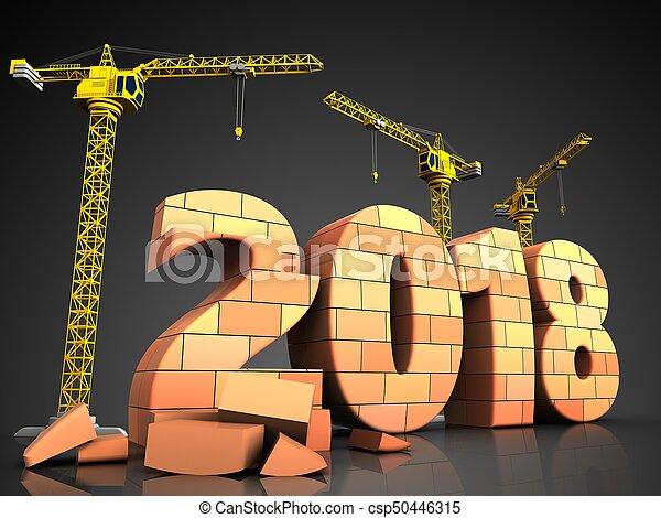 3d bricks 2018 year sign - csp50446315