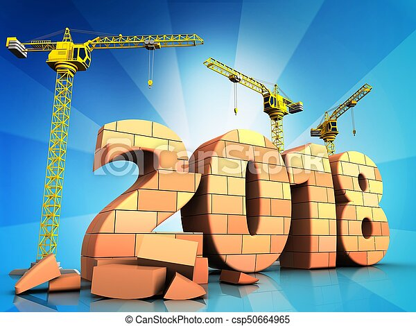 3d bricks 2018 year sign - csp50664965