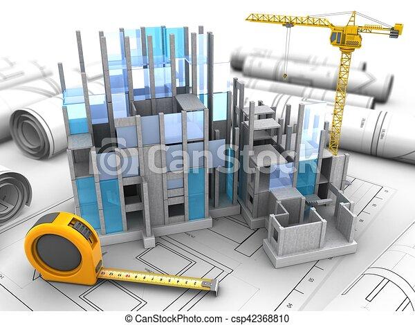 3d building construction. 3d illustration of building construction ... c4cab893d82b