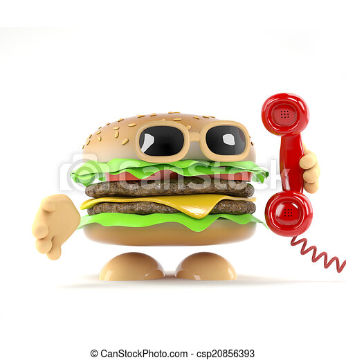 3d Burger answers the phone - csp20856393
