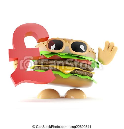 3d Burger Holds Uk Pounds Sterling Symbol 3d Render Of A Beefburger