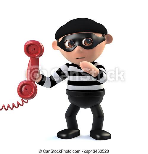 3d Burglar answers the phone - csp43460520