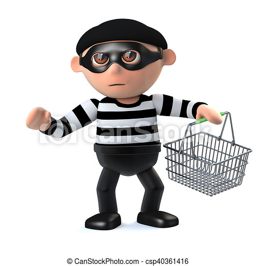 3d Burglar Goes Shoplifting With Shopping Basket 3d