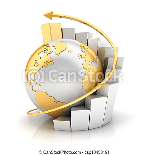 3d business earth with bar chart - csp10453191