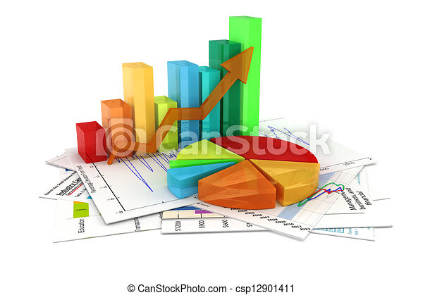 3d business graph and documents - csp12901411