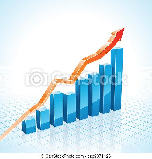 3d business growth bar graph  - csp9071126