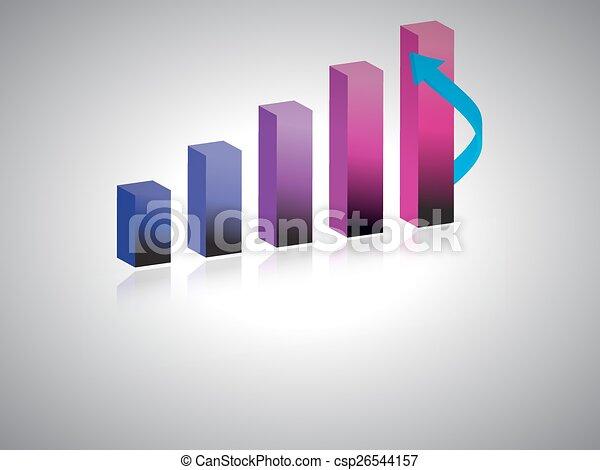 3d business growth bar graph - csp26544157