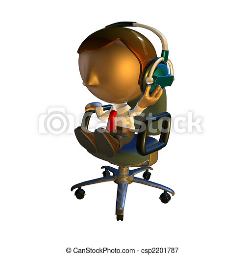 3d business man character sitting in a chair with headphones - csp2201787