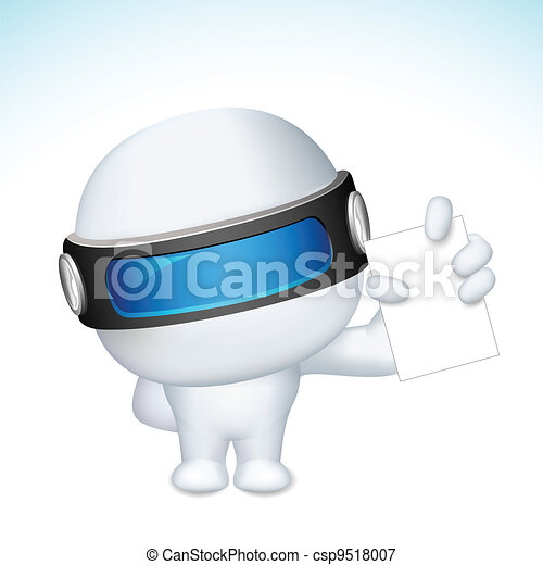 3d Business Man in vector showing Blank Card - csp9518007