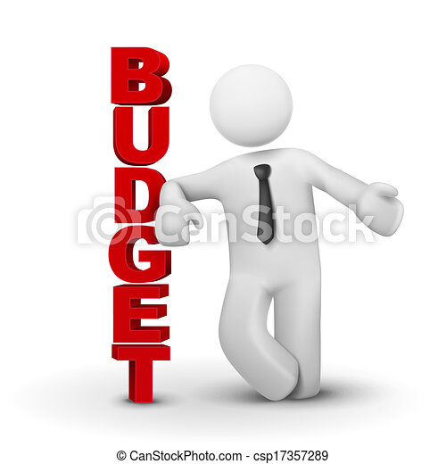3d business man presenting concept of budget - csp17357289