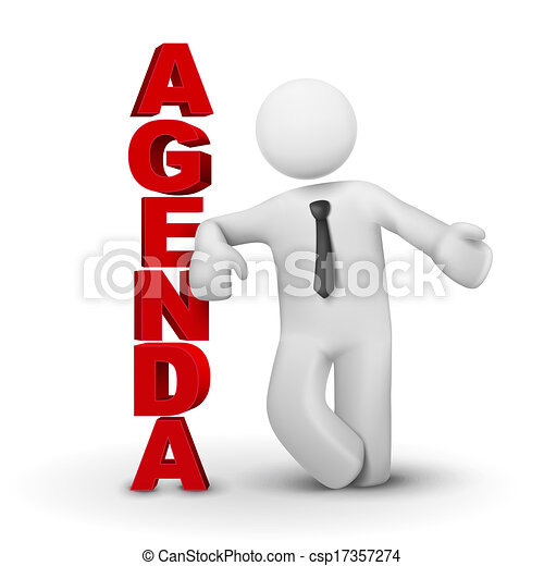 3d business man presenting concept of agenda - csp17357274