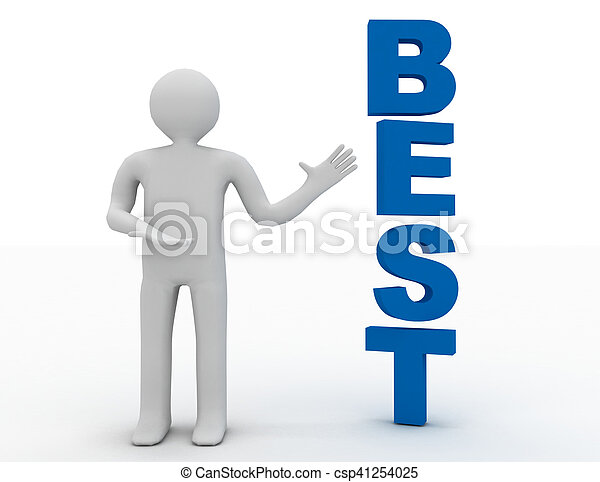 3d business man presenting word best concept isolated white background