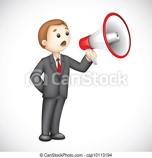 3d Business Man with Megaphone in Vector - csp10113194