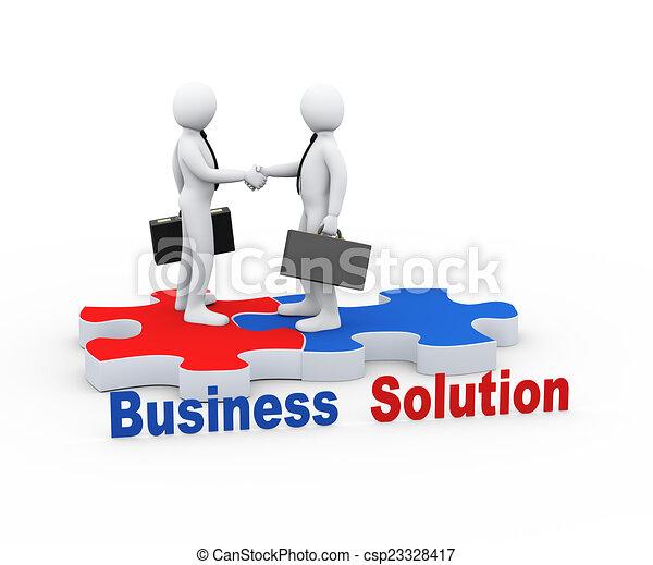 3d business partner on puzzle piece - csp23328417