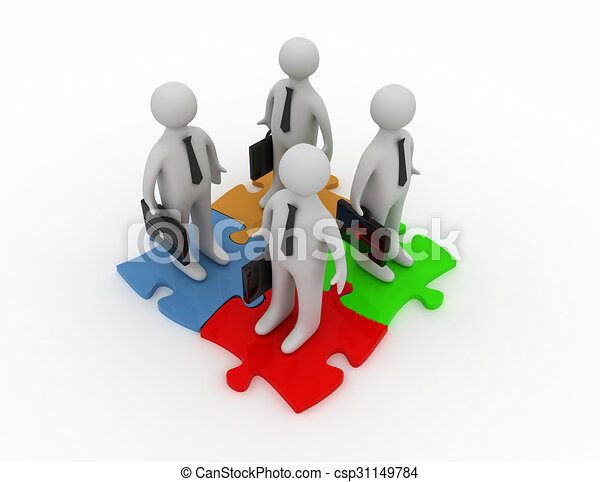 3d Business People And Jigsaw Puzzle Pieces Teamwork Concept