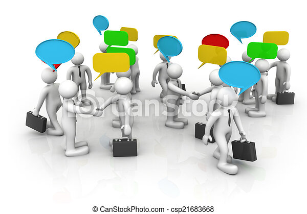 3d business people are discussed, Discuss/debate/ communication 	 - csp21683668