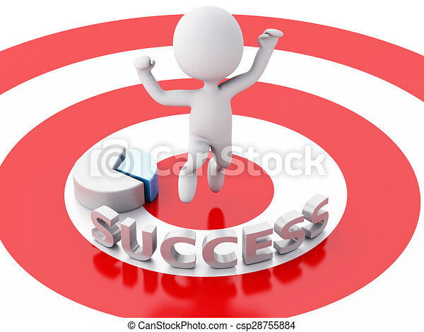 3d business people, happy jumping for the success in red target. - csp28755884