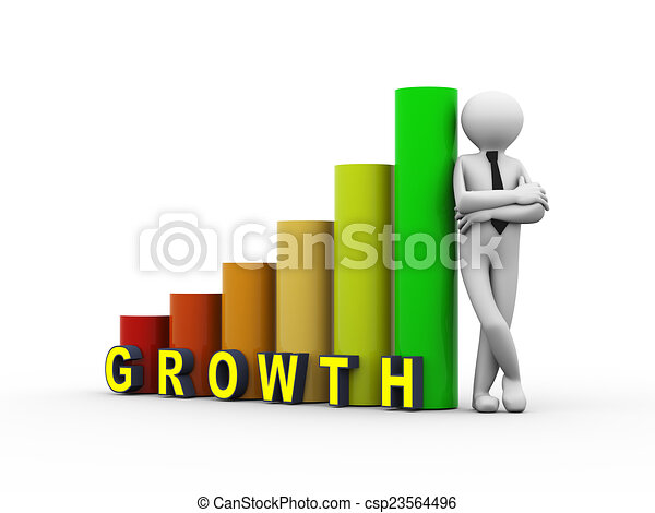 3d business person growth progress bars - csp23564496