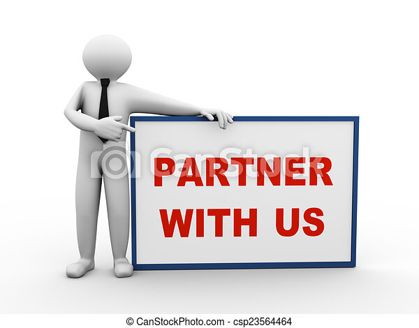 3d business person partner with us - csp23564464