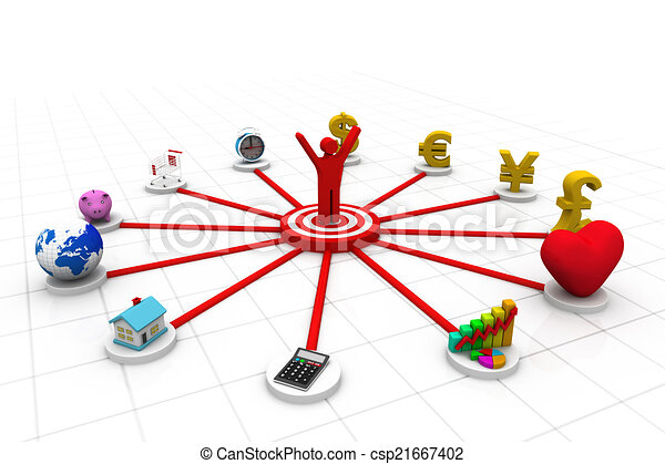 3d business person with business icons;  - csp21667402