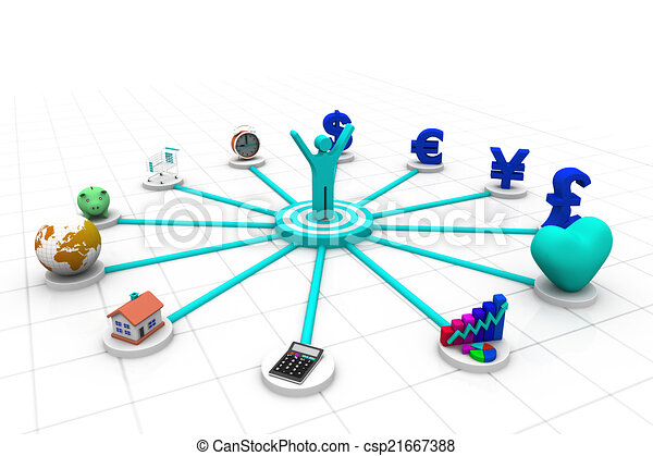 3d business person with business icons	 - csp21667388