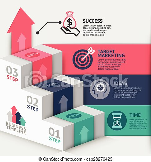 3d business staircase diagram template. Vector illustration. can be used for workflow layout, banner, number options, step up options, web design, infographics, timeline template. - csp28276423