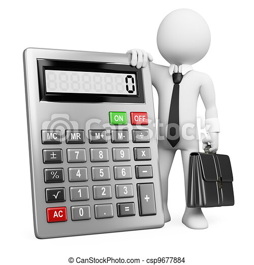 3d business white people. Businessman with calculator. - csp9677884