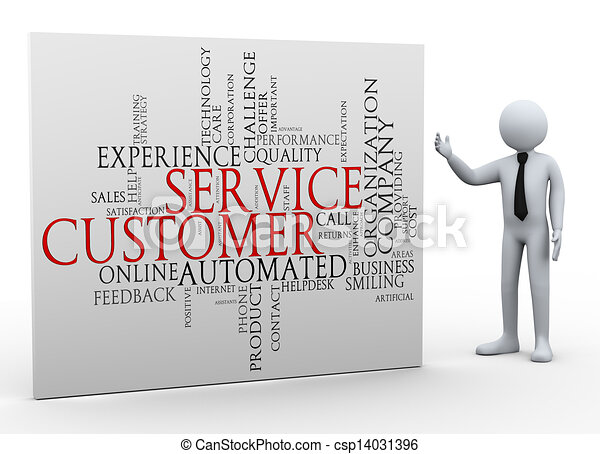 3d businessman and customer service wordcloud - csp14031396