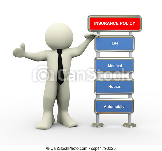 3d businessman and insurance policy - csp11798225