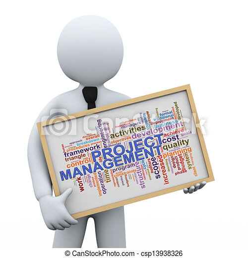 3d businessman and project management word tags 3d illustration of rh canstockphoto com Clip Art Change Management Time Management Clip Art