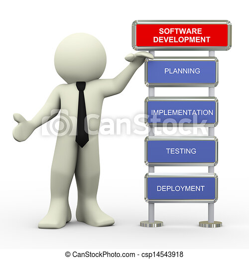 3d businessman and software testing - csp14543918