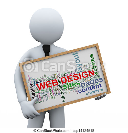 3d businessman and web design tags. 3d illustration of man ...